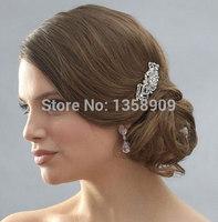 Bridal Wedding Flower Crystal Rhinestones Pearls Women Hair Clip Comb Diamante