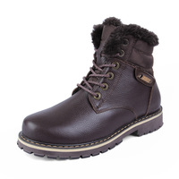 2014 new winter warm cotton-padded men's high-top boots male genuine leather wool business casual flats shoes Plus size