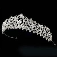 fashion party rhinestones pearl headband tiara bridal hair accessories wedding jewelry crystal tiaras handmade hairband crown