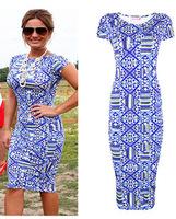 2014 Women Summer Bandage Dress Geometric Print Pencil Dresses ladies Work Wear Plus Size Bodycon Vintage Dress