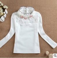 new 2014 kids girl autumn winter long sleeve lace flower turtleneck princess all match base t shirt top children casual clothes