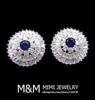 Luxury Sparkling Micro Pave Setting AAA Cubic Zirconia Sapphire Blue Zircon Stud Earrings Elegant Bridal Wedding Earrings