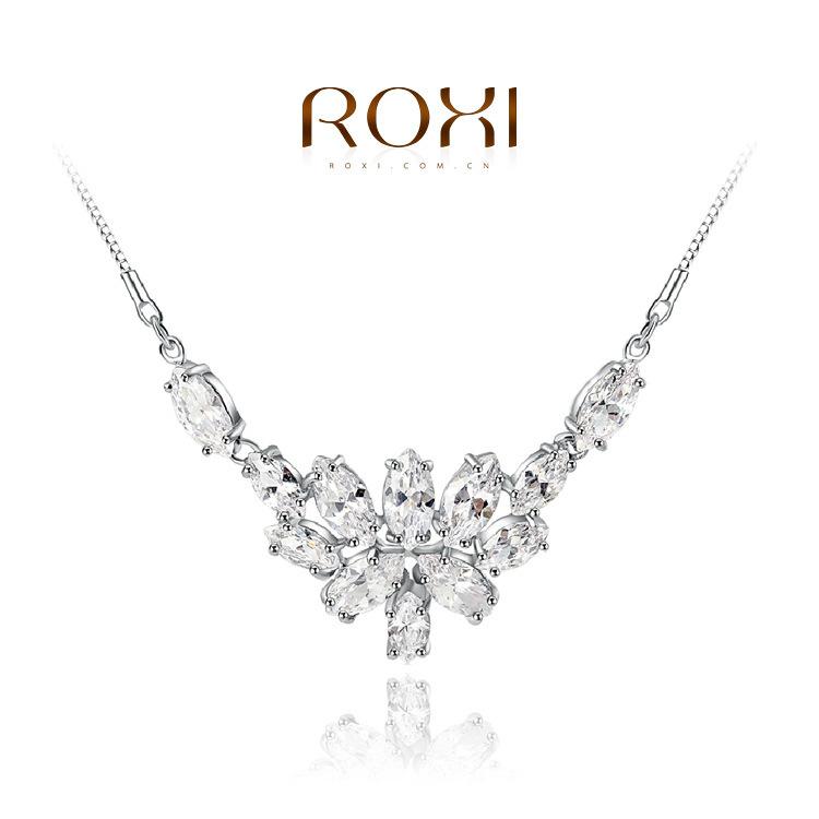 ROXI Gift Classic Genuine swiss zircon platinum Fashion Luxury Chain Necklace Flowers Pendant Big OFF Party(China (Mainland))