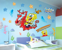 H1307Free shipping 1PCS Quotes SpongeBob and dragon Vinyl Wall Decal Stickers DIY Home Decor Bathroom Tiles Wall DROPSHIPPING