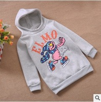new 2014 children girl winter fashion cartoon print casual sport hoody kids girls fleece long hoodies outerwear clothes lot