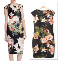 2014 Newest Celebrity Retro Autumn Chic Women Floral Printing Slim Sheath Bodycon Dress