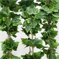 10pcs/lot #3G 2.6m Length 44 three-dimensional Symmetric Simulation Green Grape Leaves Vines/Rattan Plastic Garden Decoration