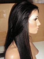 Hot 130% Density yaki straight Brazilian Virgin human Hair Full Lace Wigs Glueless Lace Front Wigs Baby Hair IN STOCK