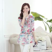 Free Shipping high quality Chiffon Five petal sleeve fashion Tencel waist lace shirt