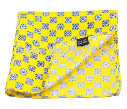New Arrival 33*33CM Silk Pocket Square Silk Handkerchief Men's Hanky Yellow Color #SY07(China (Mainland))