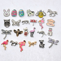 silver mixed style free shipping animal floating charms for glass locket
