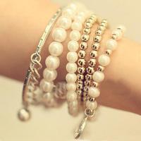 Rivet Tower Eiffel Pearl Bowknot Pearl Beads Pendants Bracelets&Bangles AMB029