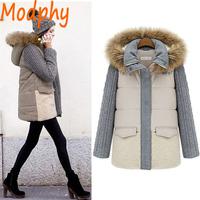 2014 women full sleeve cotton padded jackets detachable fur hood patchwork winter warm coat drop ship ST106