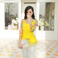 Free Shipping high quality elastic chiffon O-neck with Bright beads printing half sleeve lady leisure shirt