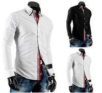 2014 New Fashion Autumn winter Men Casual Slim Fit Dress Shirt Top Mens Long Sleeve Shirts M-XXL Black White Free Ship