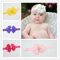 2014 new arrive fashion hair bow with rhinestone baby girl headband kids hair accessories hair band freeshipping 10pcs/lot