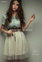 12pcs/lot  Women summer Short sleeve Denim Spliced Chiffon dresses With belt Korea dress  Slim waist chiffon dress Free Shipping