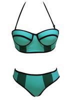 2015 Women Swimwear Biquini Light Blue Mesh Detail Push up Bikini LC40971 Swimsuits