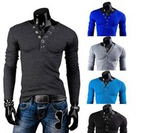 2014 New Fashion Autumn Casual V-Neck Men Solid Long Sleeve Slim Fit Bottoming T Shirts for men 5Colors ,M-XXL Free Ship