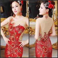 2014 new crystal wedding toast the bride dress vestido de noite free shipping w3e45t