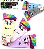 Free shipping Cartoon expression brief paragraph five toe sock lovely cotton candy color socks 5 fingers couples socks Wholesale