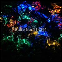 New 2014 SLSD5 50 LED Colorful Sika Deer Solar String Lights luminaria led string light solar powered innovative decoration