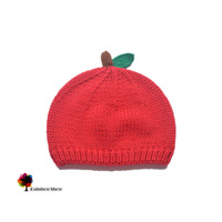 New Children Hats Spring Autumn Winter Girls Lovely Red Apple Fruits  Knitted Cotton Quality Baby Hats Head Cap