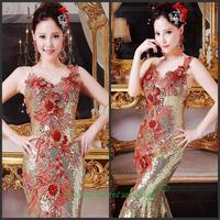 2014 new crystal wedding toast the bride dress vestido de noite free shipping d5g54y6