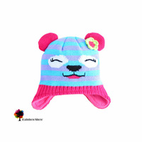 New  Boys Winter  Autumn Spring  Jacquard Smiling Bear Bo Hats Waterproofed Oilproofed Two-layered Warm  Cotton Fleece Hat