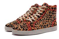 Wholesales 100% Leopard Genuine Leather High Top Men Shoes Women Shoes With Rivets Unisex Fahsion Sneakers