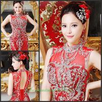 2014 new crystal wedding toast the bride dress vestido de noite free shipping f6h54h3