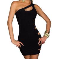 Free Shipping One Shoulder Black Mini Party Dress For Women Sexy Club Wear Dress Fashion Bandage Dress Celebrity Dress
