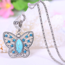 2014 Newest Fashion Butterfly Turquoise Necklaces Jewelry Vintage Tibetan Silver Pendants Free Shipping