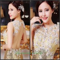 2014 new crystal wedding toast the bride dress vestido de noite free shipping d4f4g5