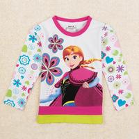 Frozen Princess Anna Girls t-shirts Nova brand lovely floral t shirt for children girl Autumn long sleeve t shirt F5443Y
