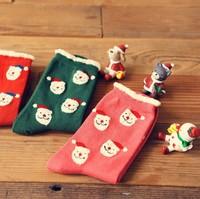 Kawaii Christmas Bear 100% Cotton Cartoon Socks Women's Socks GG1