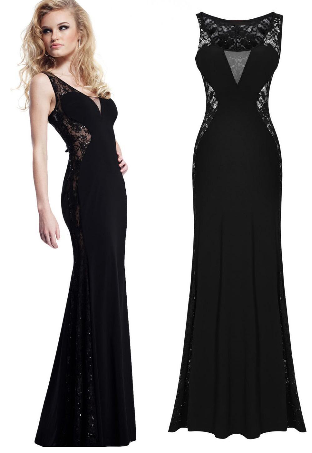 Black Lace Evening Long Halter Dress