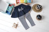 Wholesale 4 Piece Autumn Winter Kids Tutu Leggings For Girls Polka Dots Skirt Striped Pants Navy Blue In Stock