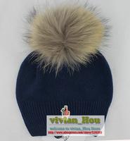 Raccoon fur big bubble pompom women's wool knitted EU brand hat wool caps big balls free shipping