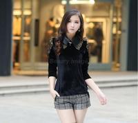 XXL-6XL Plus Size New Women Autumn Gold Velet Black Solid Casual Long Sleeve Shirt Lady Blusas Femininas 2014