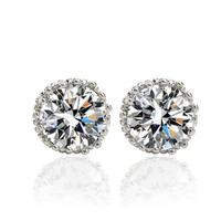 Top Quality AAA Swiss CZ Diamond Stud Earrings 7mm Multi crown Prongs classic unisex 18K white gold earring for men women
