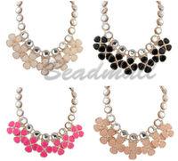 Hot High Quality Women Cute Boho Fashion Bib Statement Clover Flower Pendant Collar Chain Choker Chunky Necklace Resin Jewelry