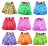 Children Hawaiian Grass Skirt Kit Hula Mini Skirt Kids Party Dress Costume 30cm Candy colors  2-5Y