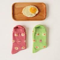 Novelty Poached Eggs Pattern 100% Cotton Creative Socks Women's Socks Couple Socks XX1