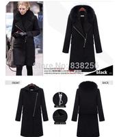 Woman Winter Overcoat Long Black Woolen Coat Warm Worsted Outerwear Women Fox Fur Collar Jacket S-XXXL Plus Size Female Clothes