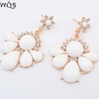 New 2014 Shourouk earrings luxury crystal flower fashion women earrings vintage elegant earrings jewelry wholesale