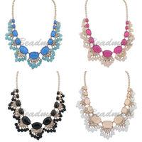 Hot Women Cute Boho Fashion Bib Statement Beads Pendant Collar Chain Choker Chunky Necklace Resin Jewelry
