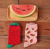 Novelty Watermelon Pattern 100% Cotton Creative Socks Women's Socks Couple Socks XX1