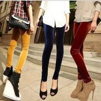 new nine points were skinny pants Korean fashion gold velvet leggings  lady trousers 14 colors