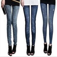New Stylish Lady's Gray Blue Denim Like Faux Jean Pants Leggings Casual Leggings Denim